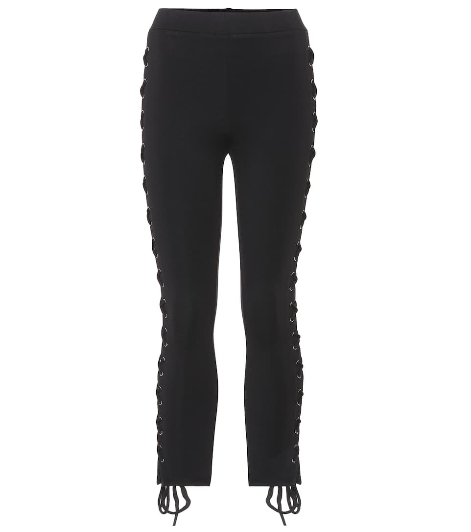 LPA Lace Outseam Ponte Jersey Cropped Leggings in Black