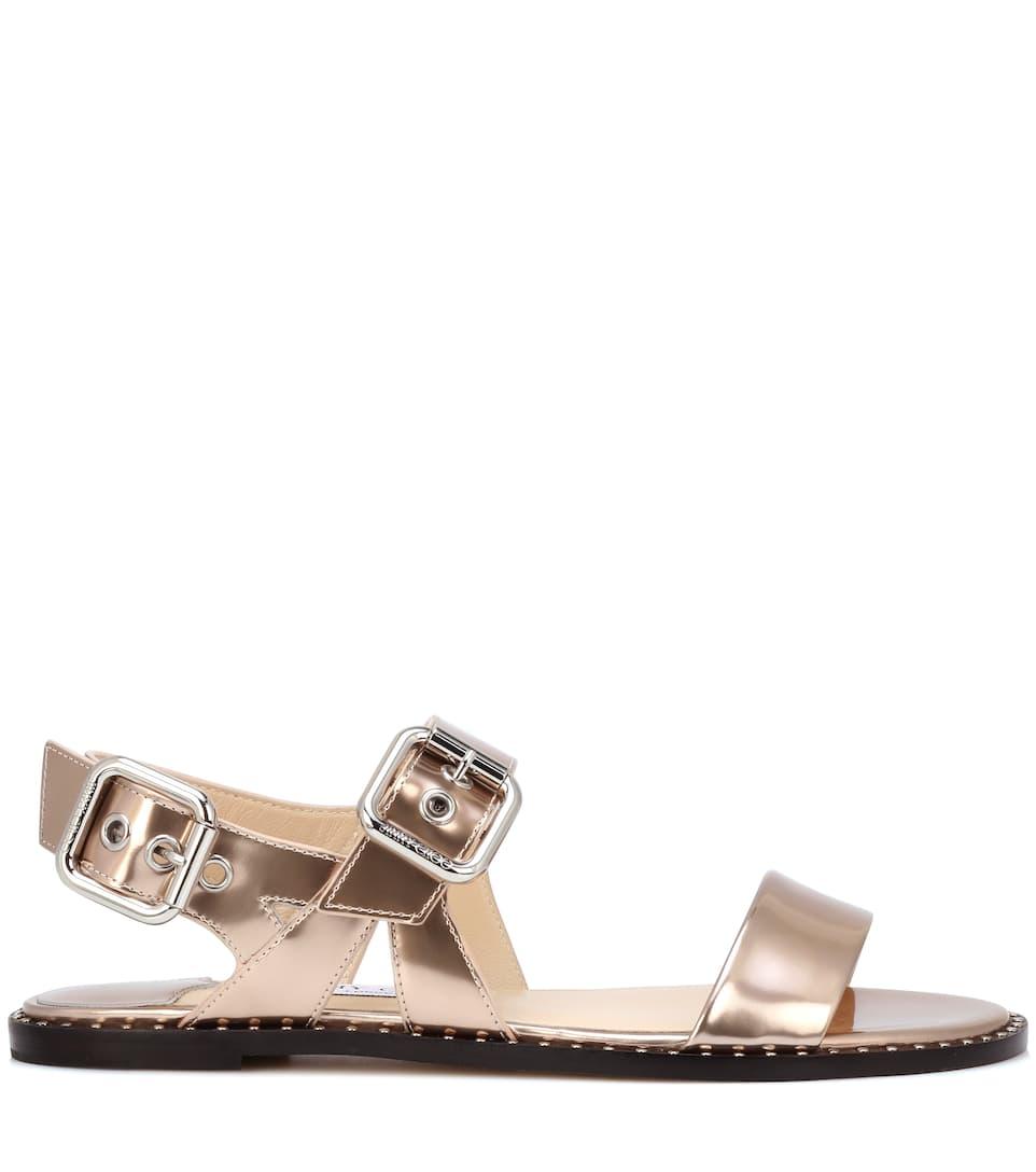 3501300311b Astrid Flat Metallic Leather Sandals - Jimmy Choo