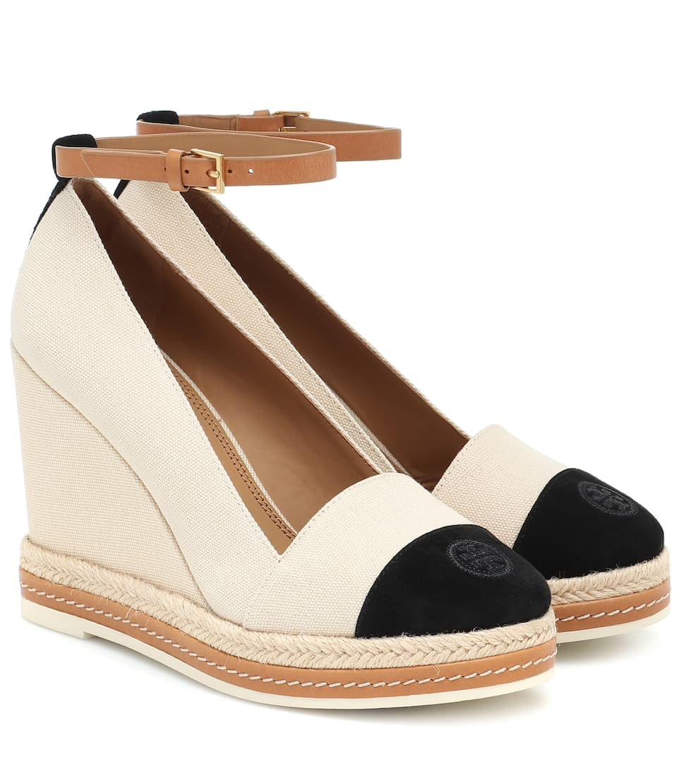 Suede-Trimmed Espadrille Wedges - Tory
