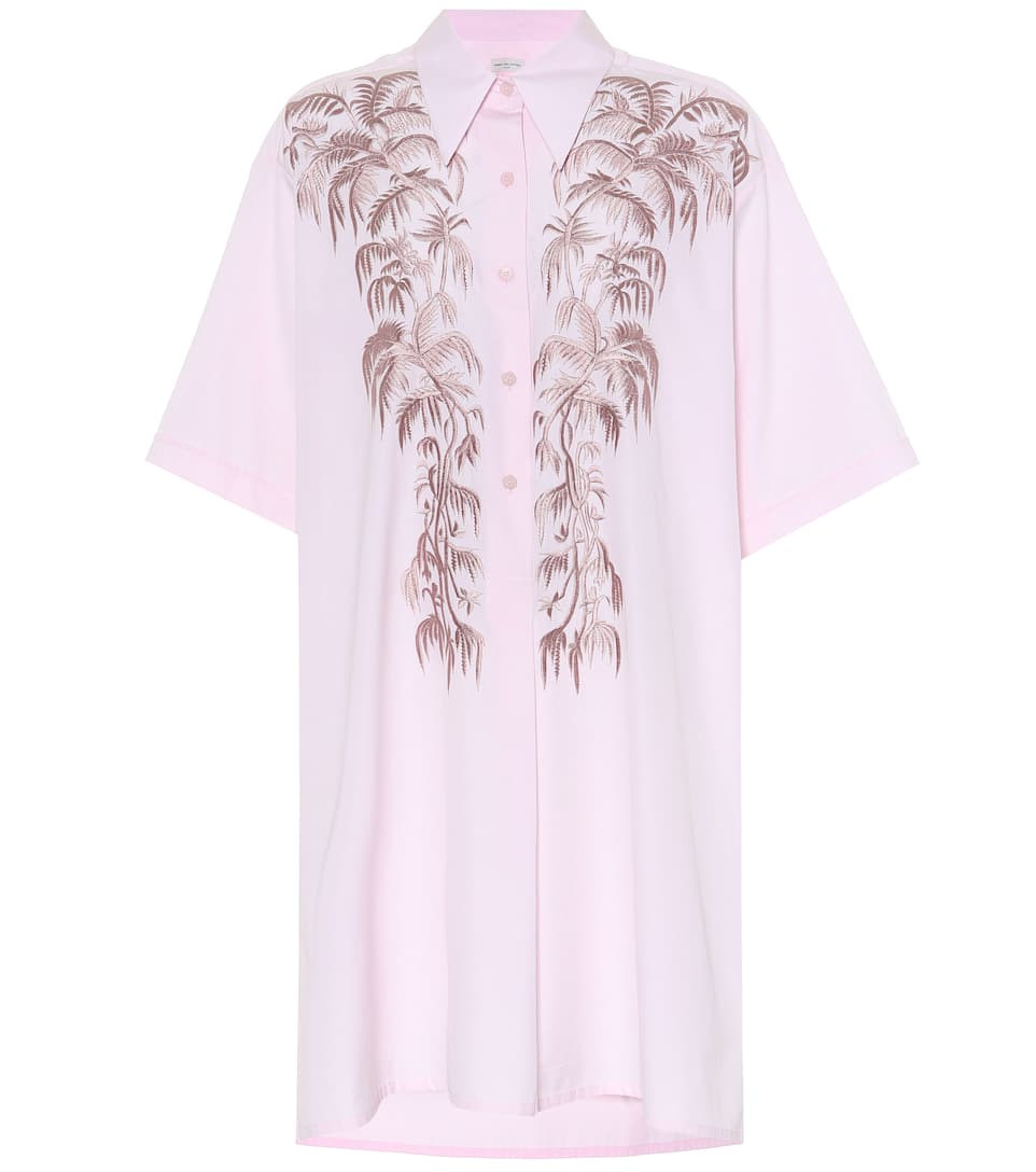 Dries rosa Van bordada Noten Camisa vestido 4w05Aqxn