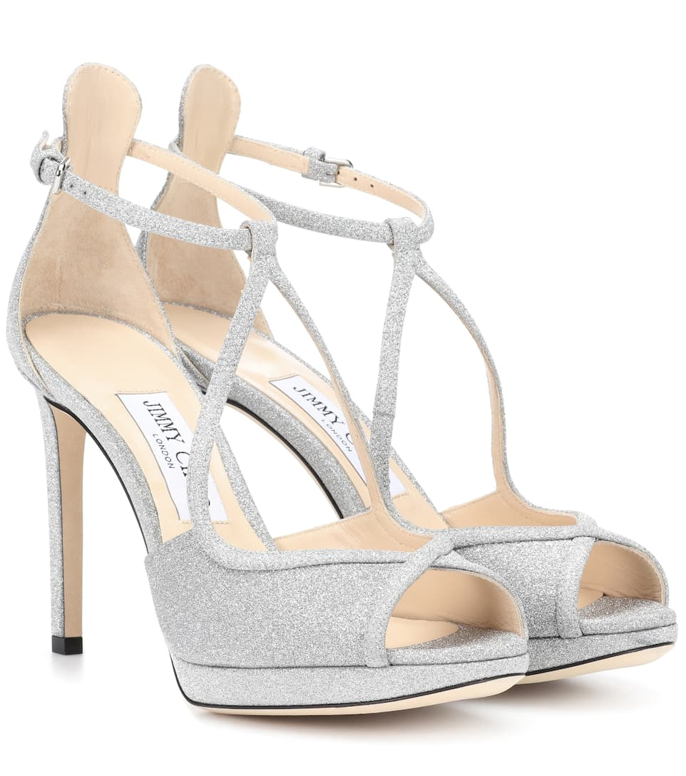 Fawne 100 Glitter Sandals by Jimmy Choo