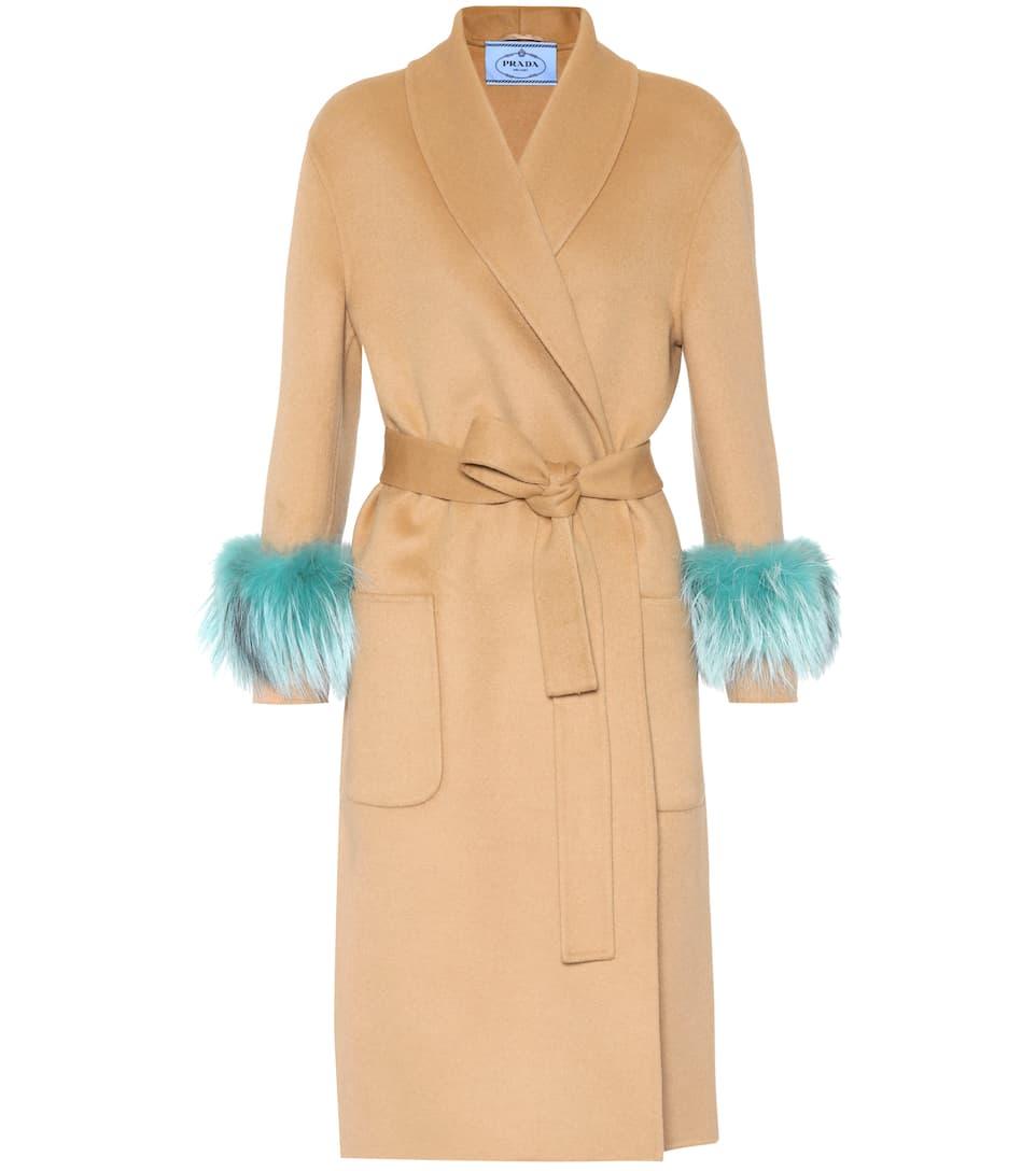 Prada Mantel aus Wolle, Angora und Cashgora mit Pelz