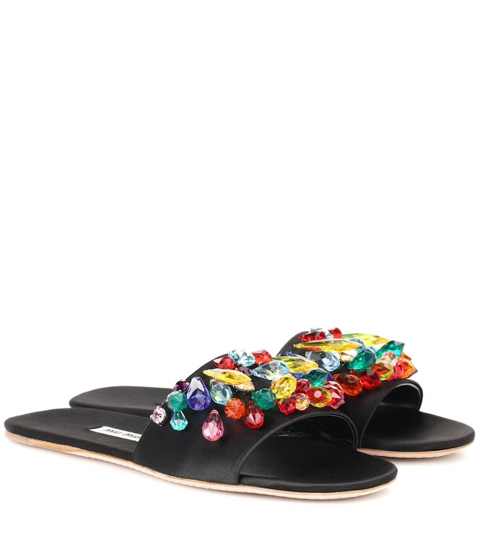 Embellished Satin Slides