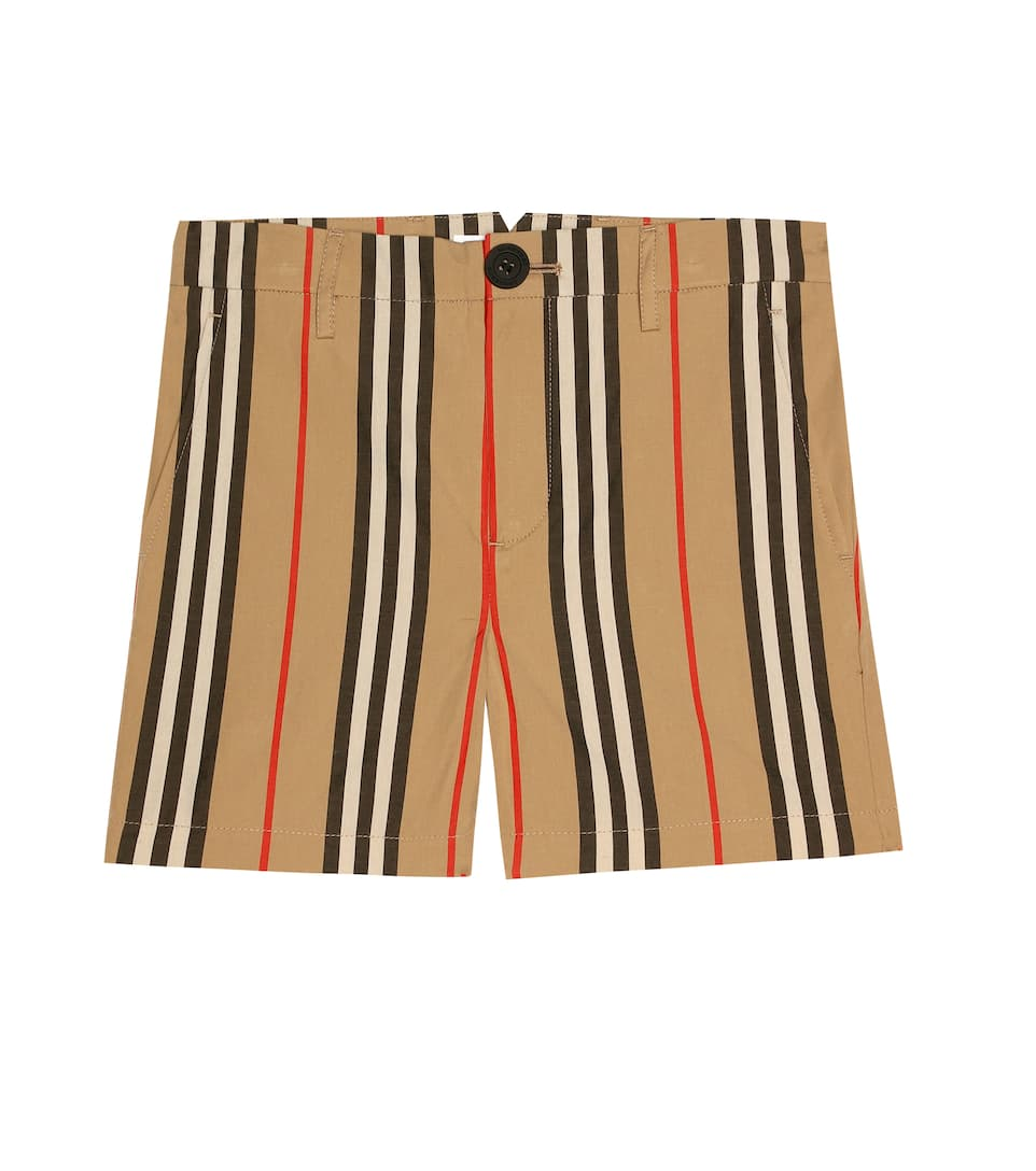 Burberry Teen Icon Stripe Cotton Chino Shorts In Neutrals