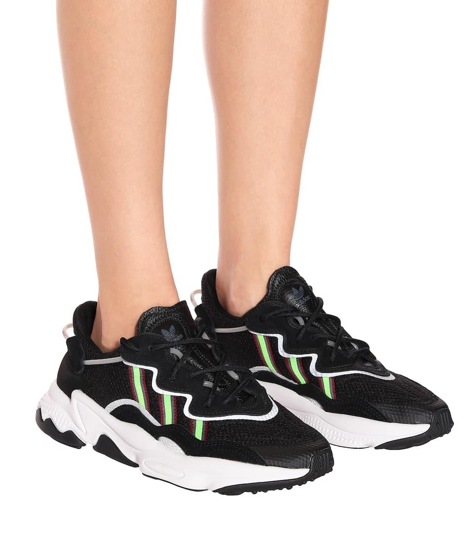 Women's Black Ozweego Mesh Sneakers
