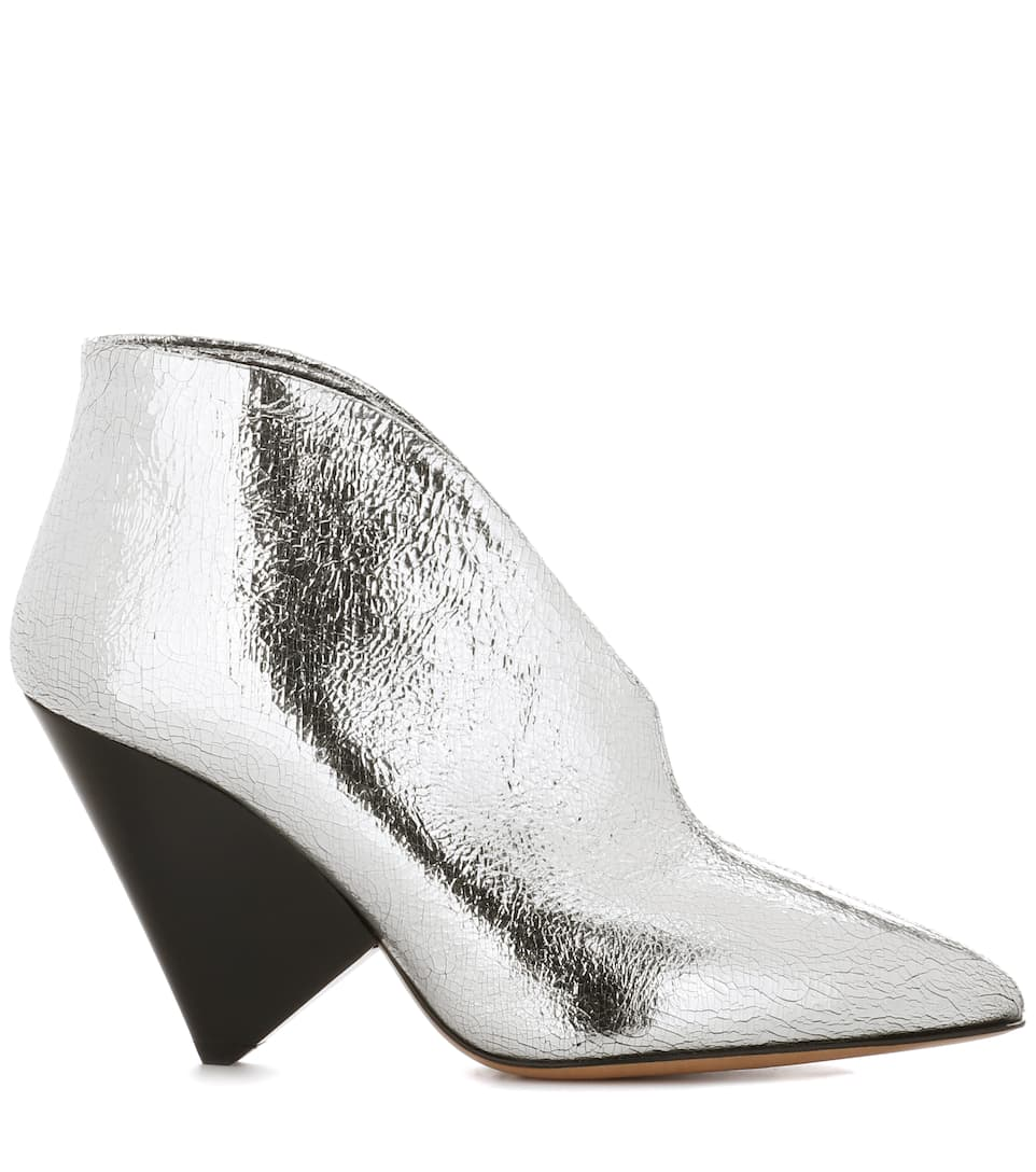 Pre Order Isabel Marant Adenn leather ankle boots Silver Cheap Official Site Discount Factory Outlet NIpw57k7O8