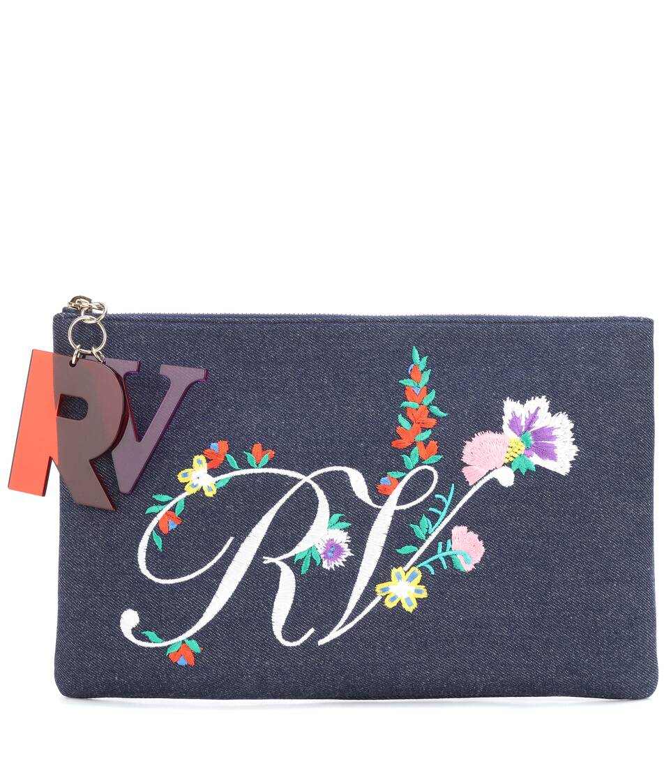 EMBROIDERED DENIM CLUTCH