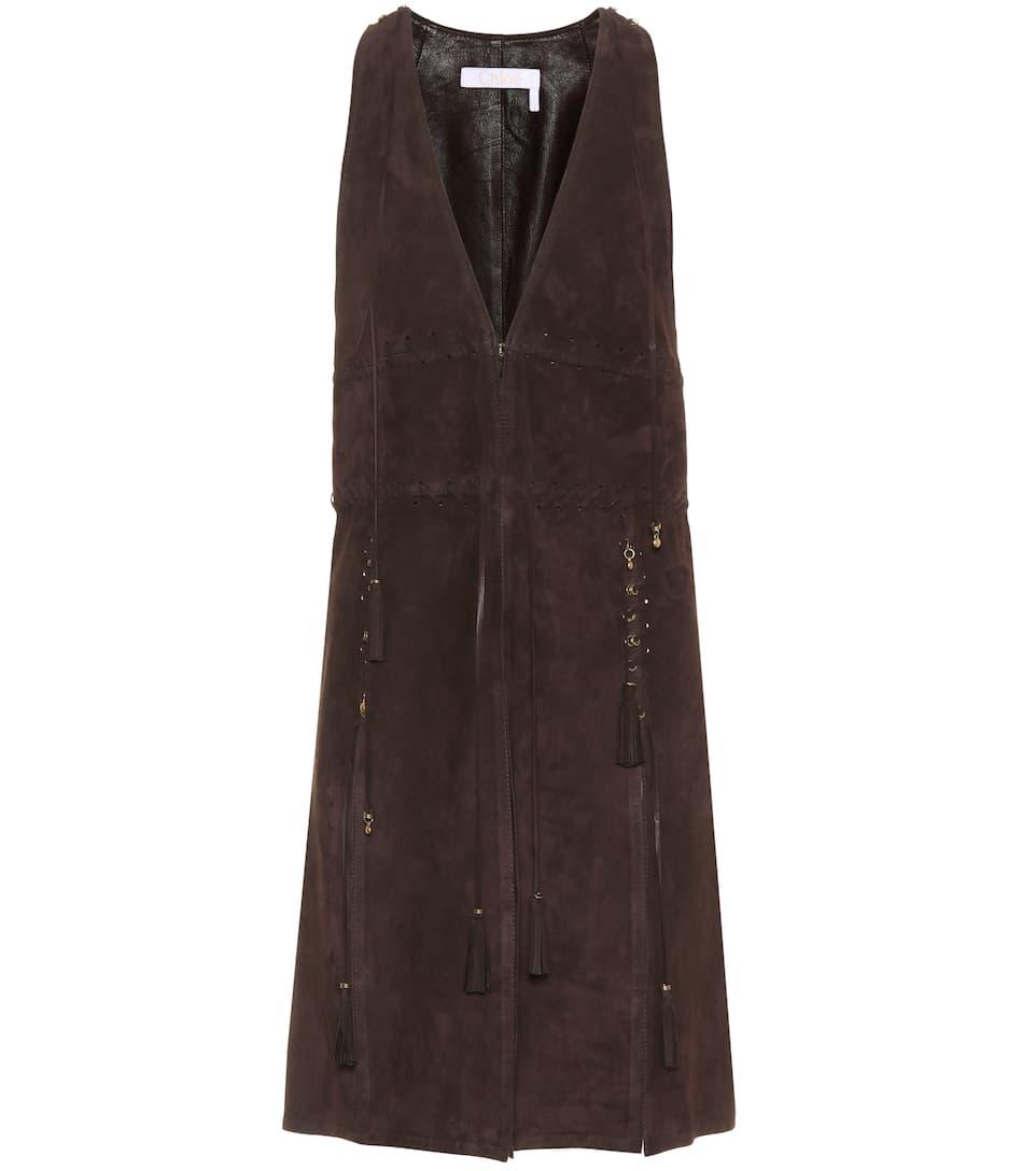 Chloé - Veste sans manches en daim à ornements ensoleillement pgFm7tlWb
