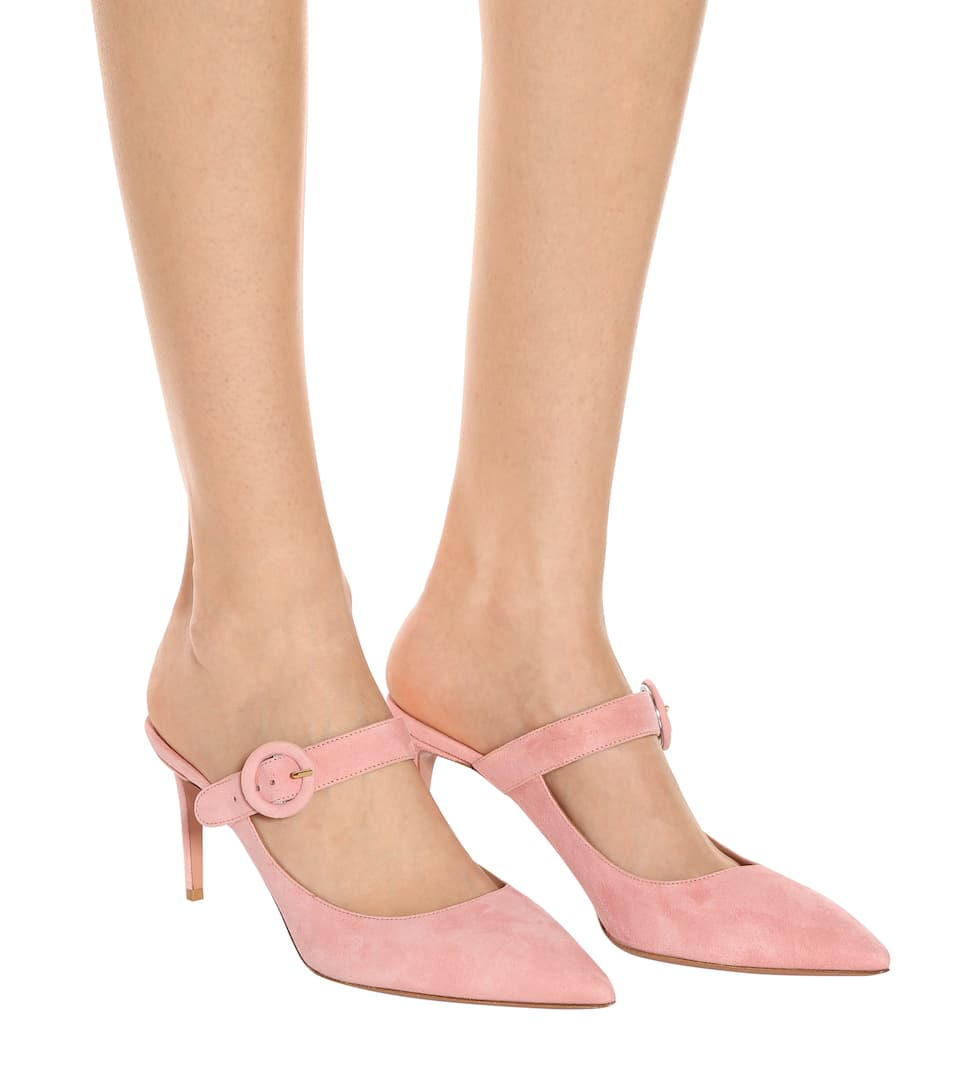 Aquazzura 75MM BLOSSOM SUEDE BUCKLED MULES Extremely Clearance Free Shipping Shop Offer For Sale 7KoIxUi