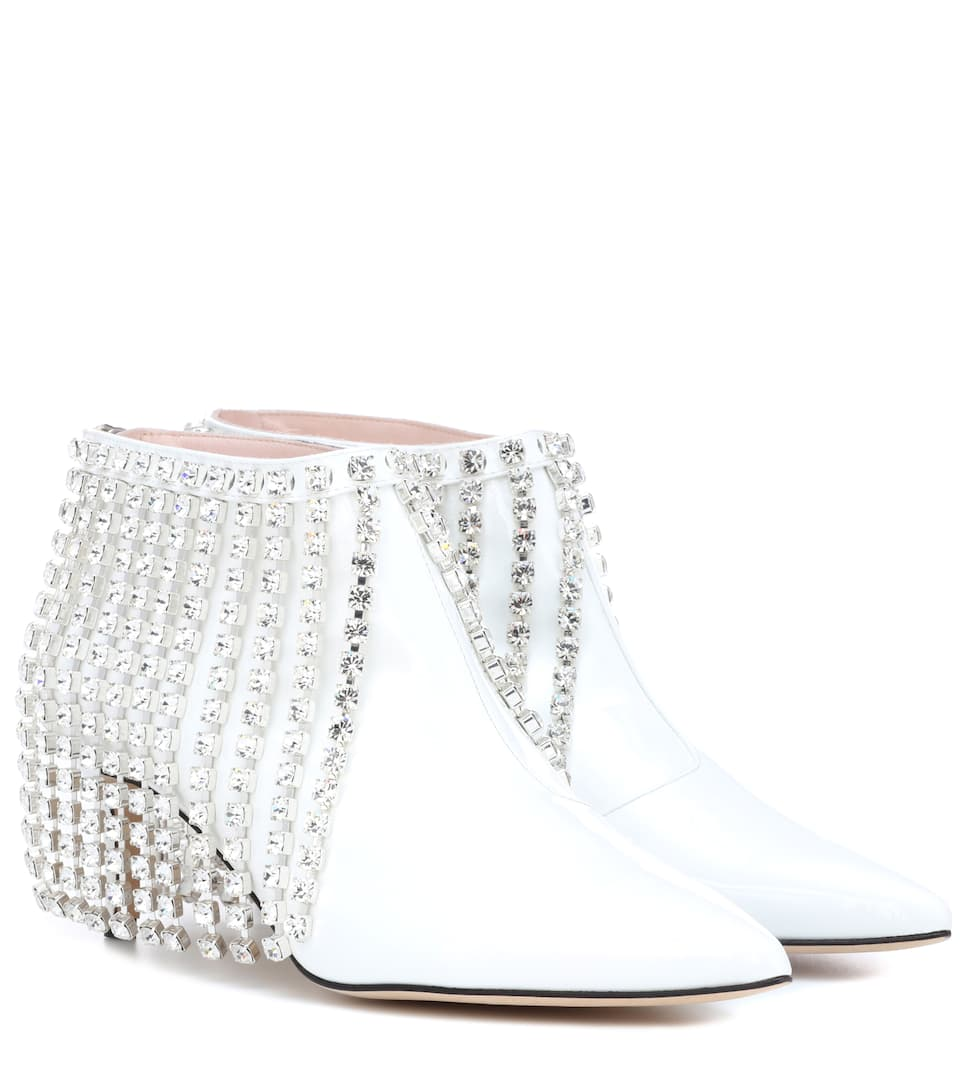 Christopher Kane Designer Shoes, Patent Leather Open Back Booties