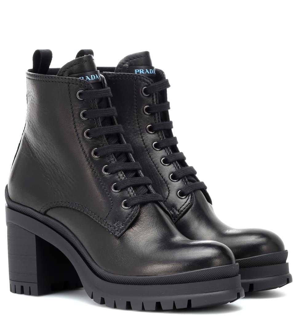Leather Ankle Boots | Prada - mytheresa.com