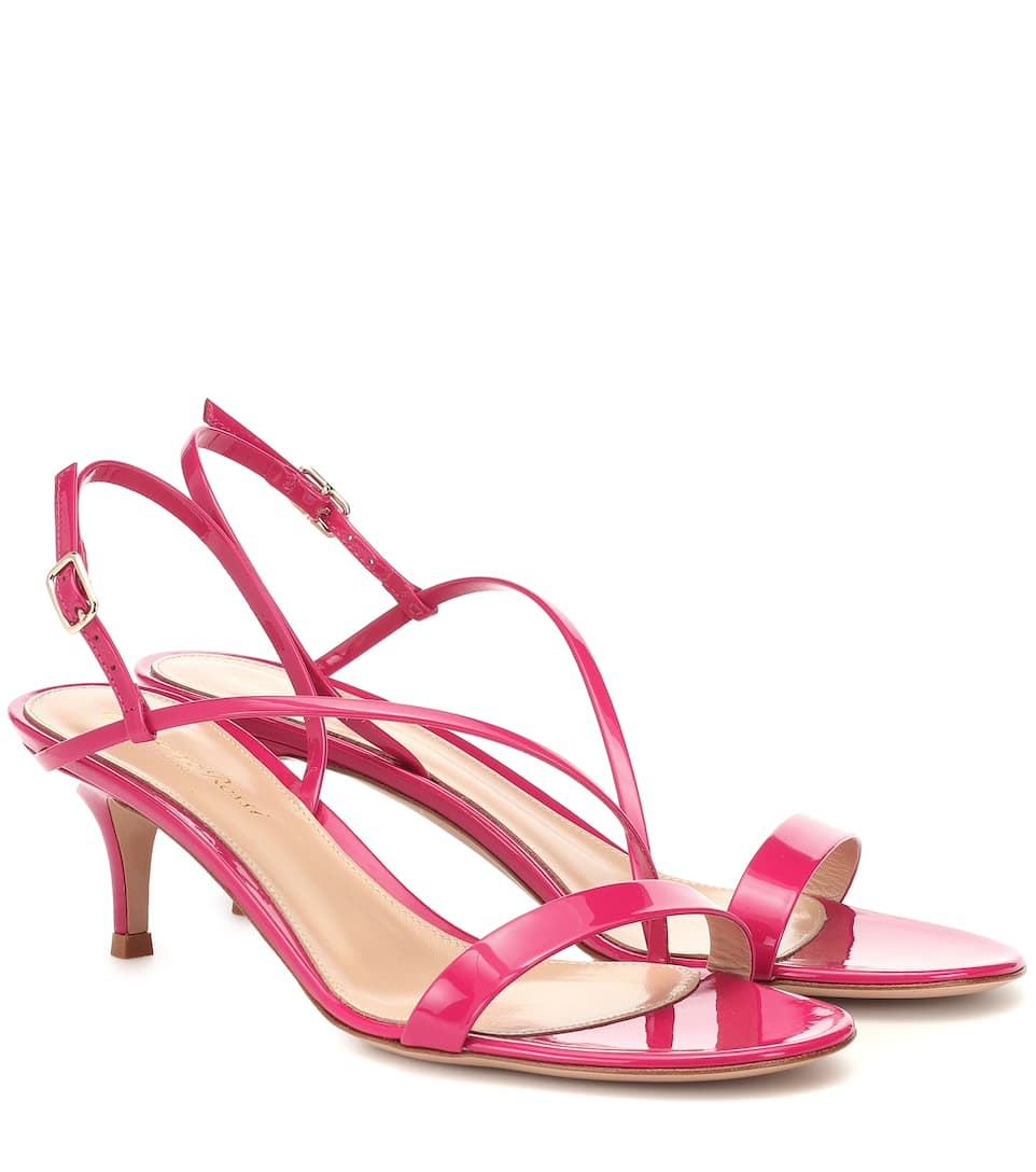 Gianvito Rossi Manhattan 55 Patent Leather Sandals In Pink