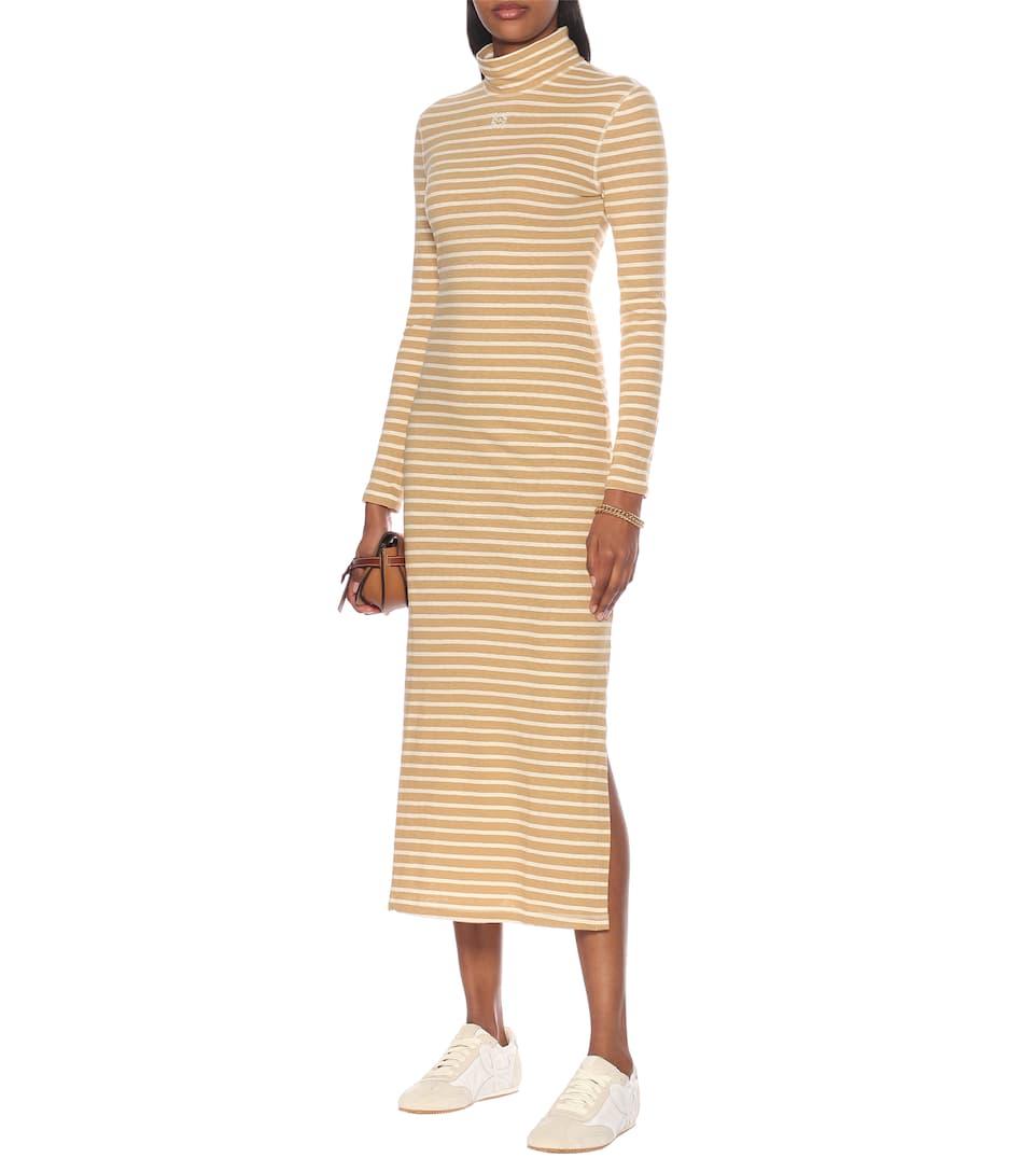 Loewe - Striped cotton-jersey midi dress