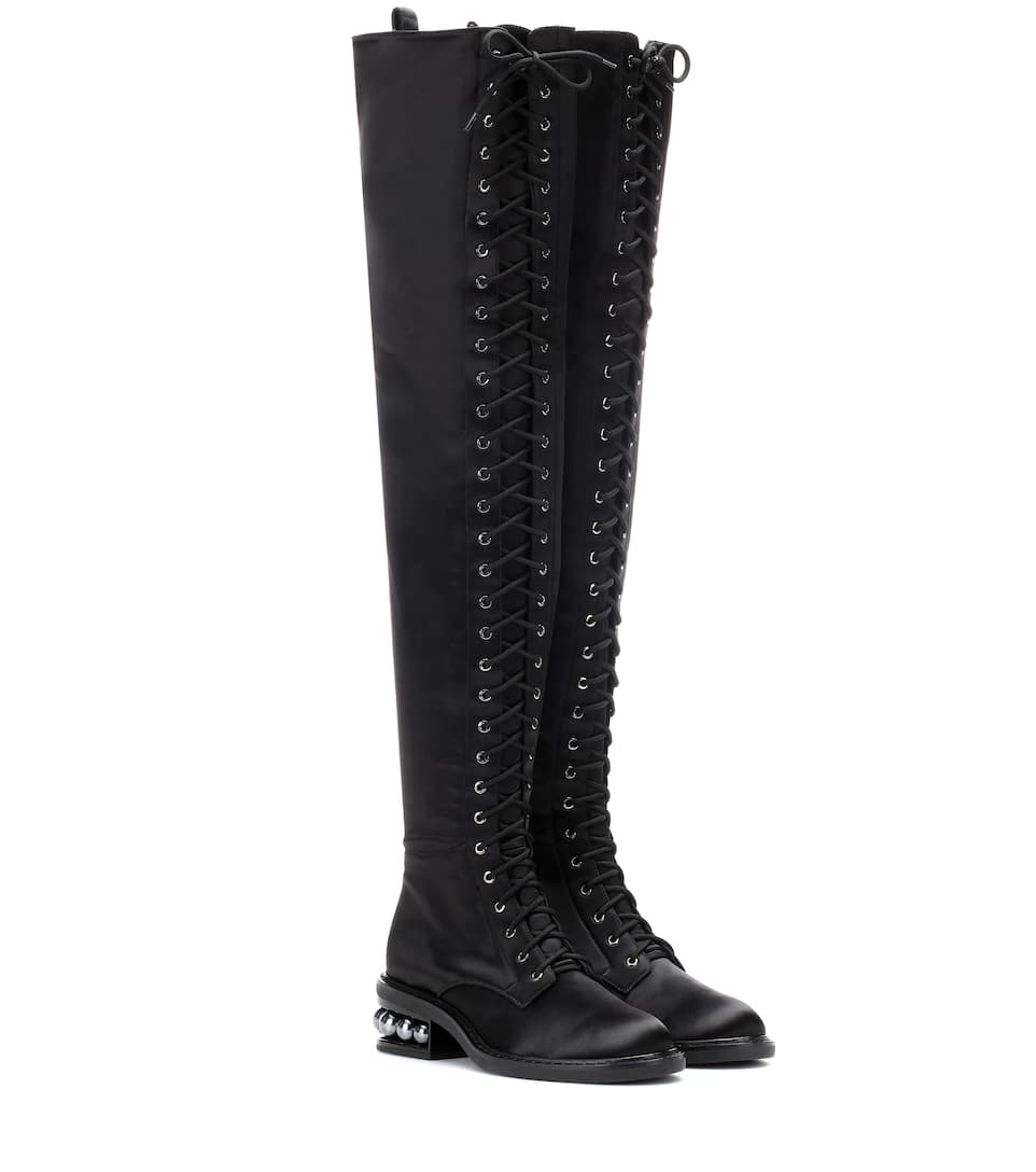 Outlet Collections Free Shipping Footaction Casati Embellished Stretch-satin Over-the-knee Boots - Black Nicholas Kirkwood Enjoy Online Outlet Very Cheap Really Cheap HV3PkpM0w