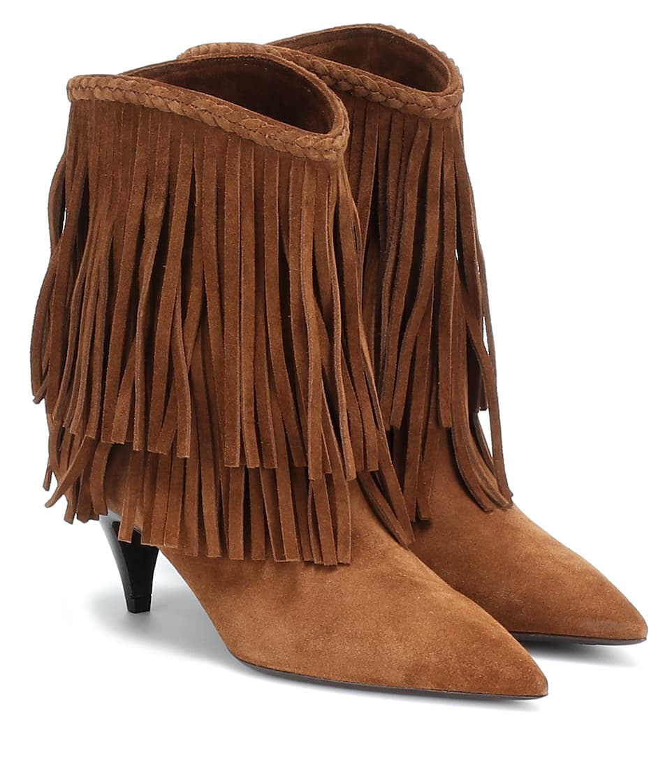 Charlotte Fringed Suede Ankle Boots by Saint Laurent