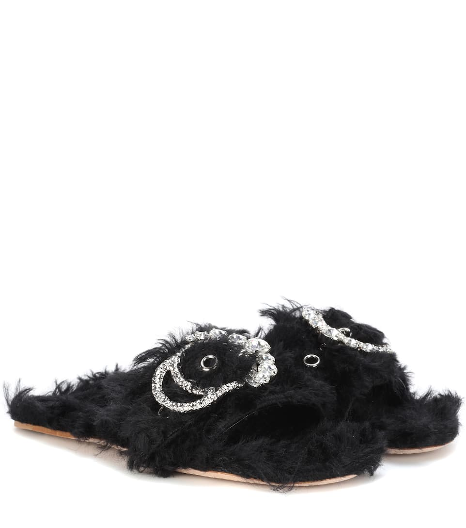 Stylish Casual Shop Miu Miu Embellished faux fur slides guy 48363