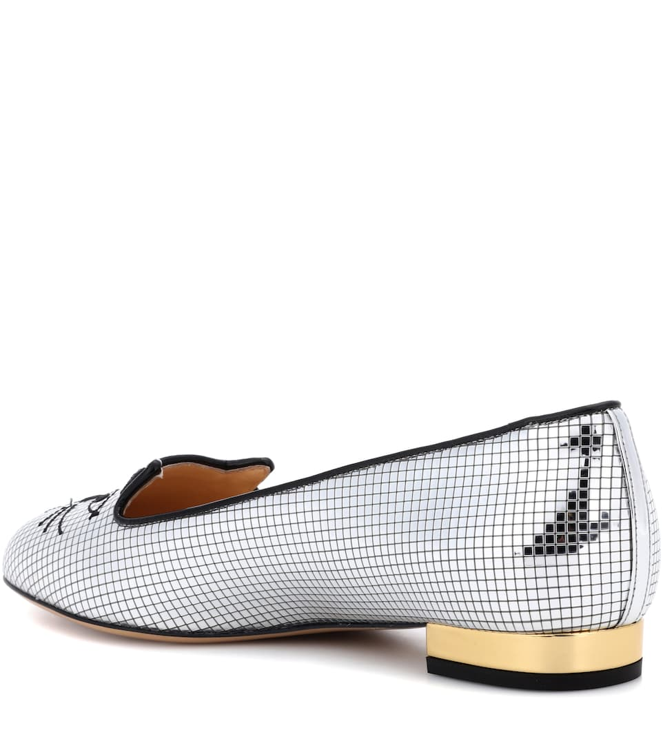 Charlotte Olympia Slippers Kitty aus Metallic-Leder