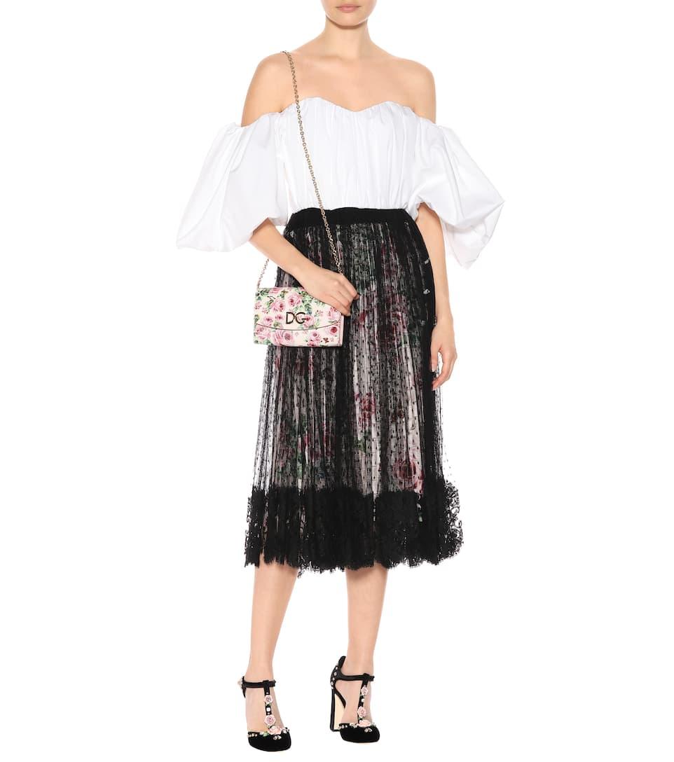 Dolce & Gabbana Bedruckte Schultertasche aus Leder