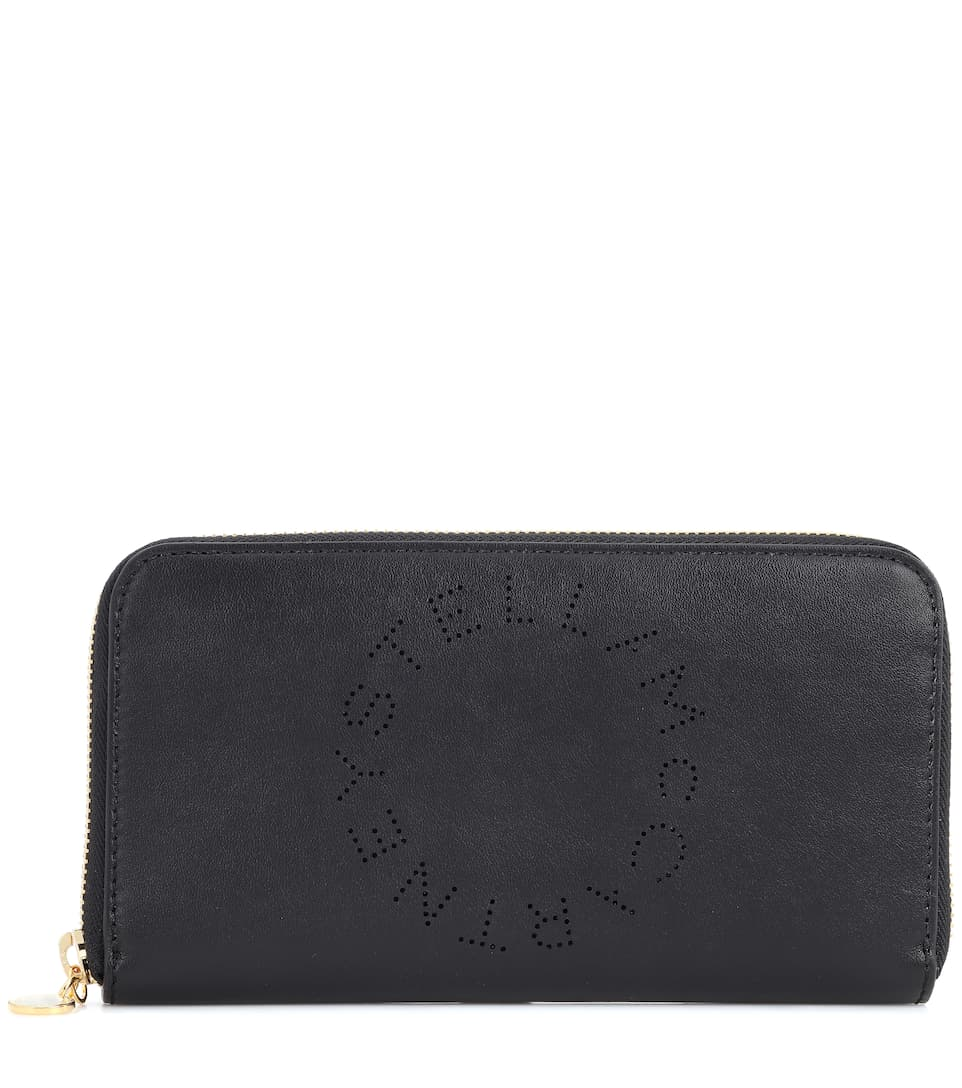 Logo Zip Around Wallet in Black