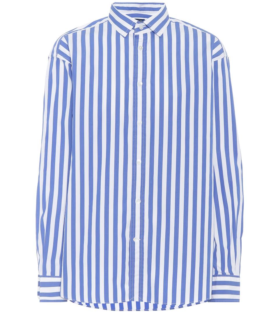 rayas Ralph Camisa algodón Azul a de Polo Lauren Blanco HOIdwqq
