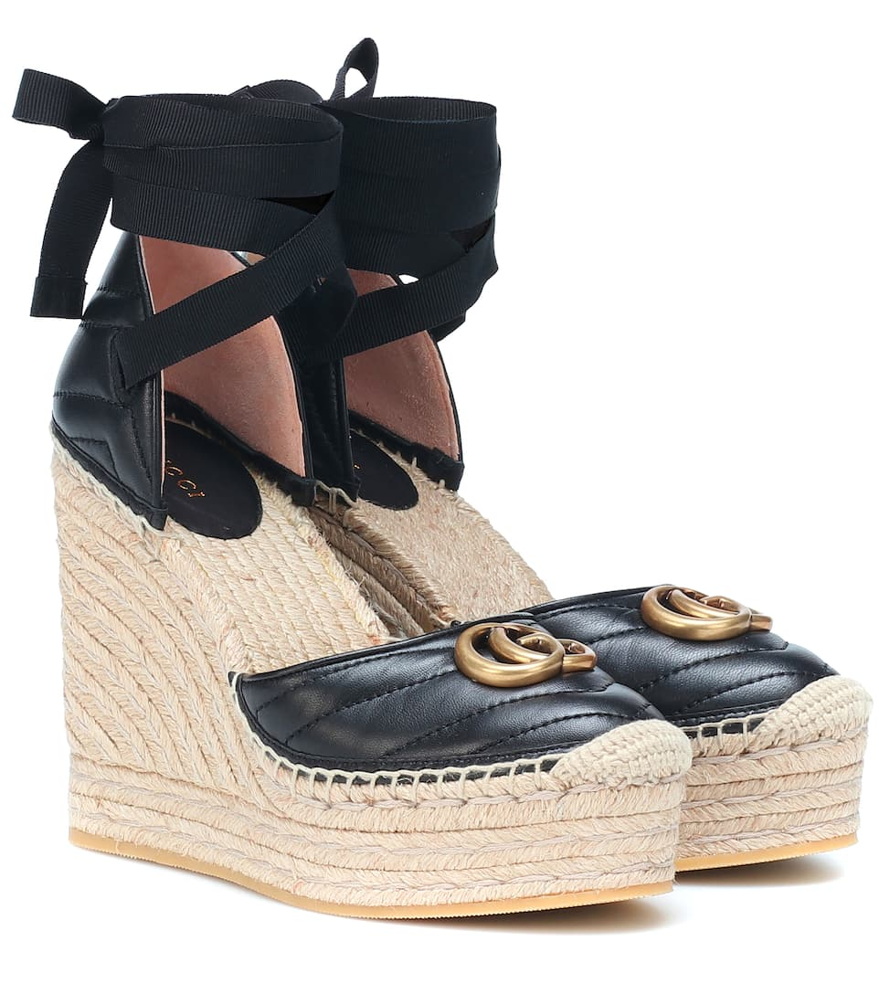 6bd63a5a4 Double G Leather Wedge Espadrilles - Gucci | mytheresa.com