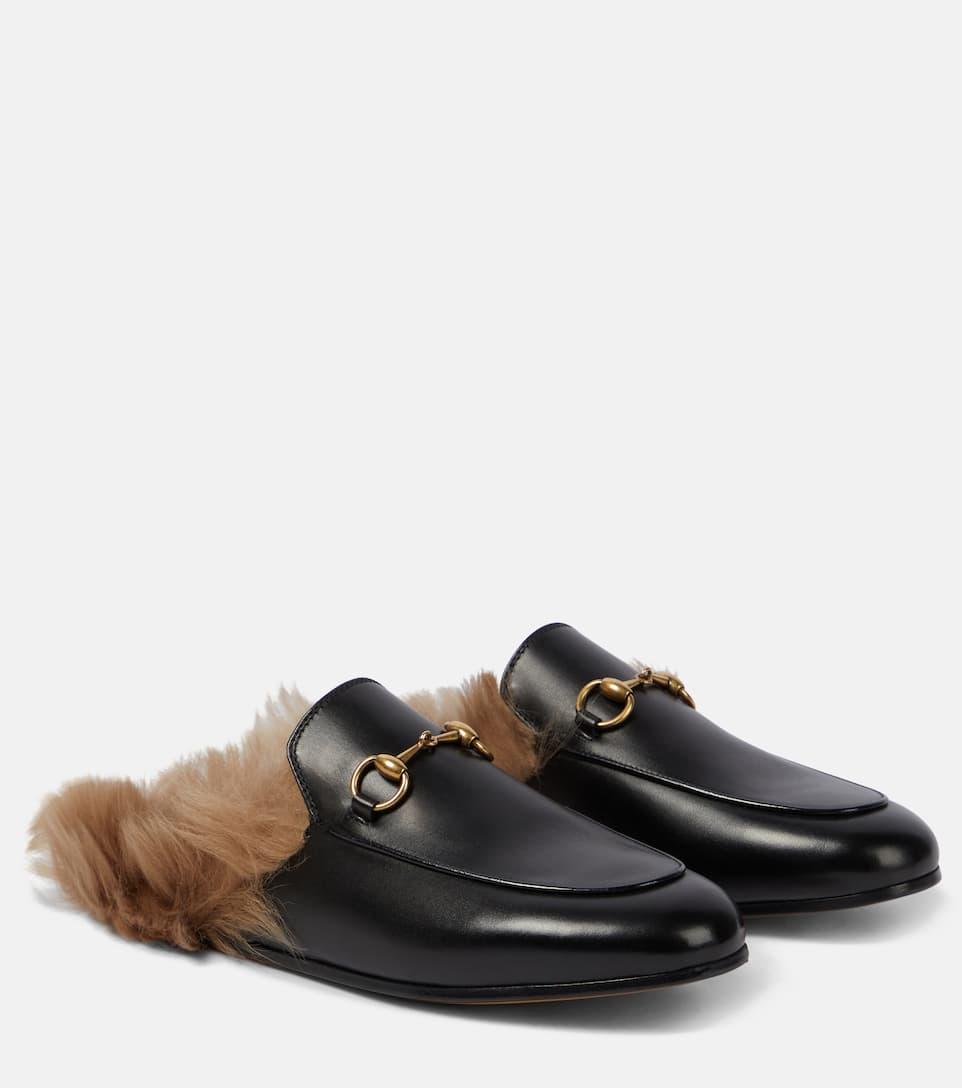 Gucci Lederslippers Princetown mit Lammfell Schlussverkauf Grau-Outlet-Store Online Billig Verkauf Schnelle Lieferung Verkauf Wie Viel JwAQP