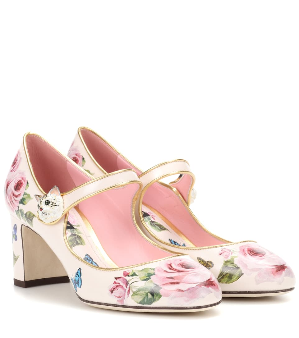 Dolce   Gabbana Printed Patent Leather Pumps In Pink  f2601129e329d