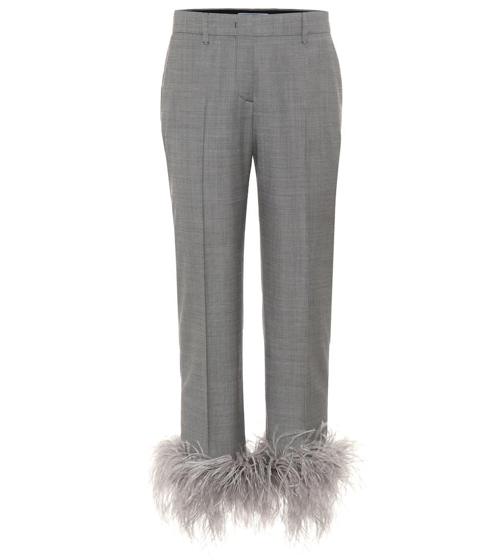 Prada Studded Pants Wool And Silk