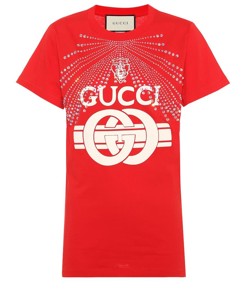 adf7f6e6 Gucci - Verziertes T-Shirt aus Baumwolle | mytheresa.com