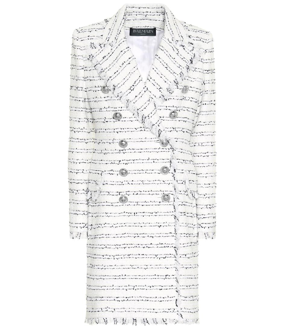 Balmain Tweed Coat- White