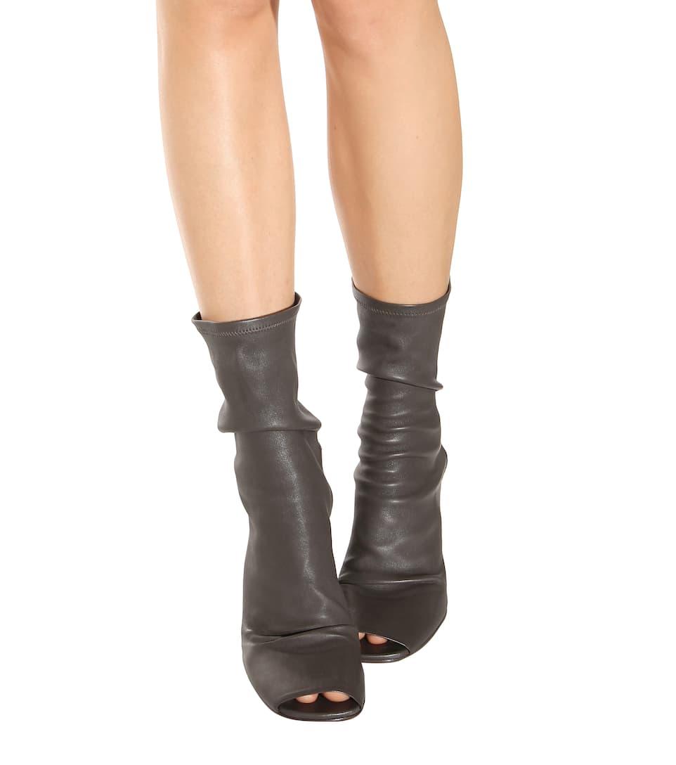 rick owens peep toe leather wedge boots
