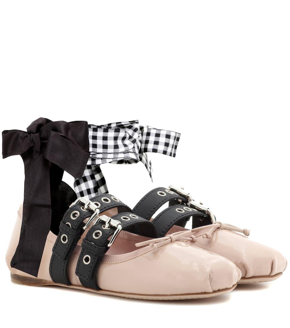 miu miu buckle embellished patent leather ballerinas. Black Bedroom Furniture Sets. Home Design Ideas