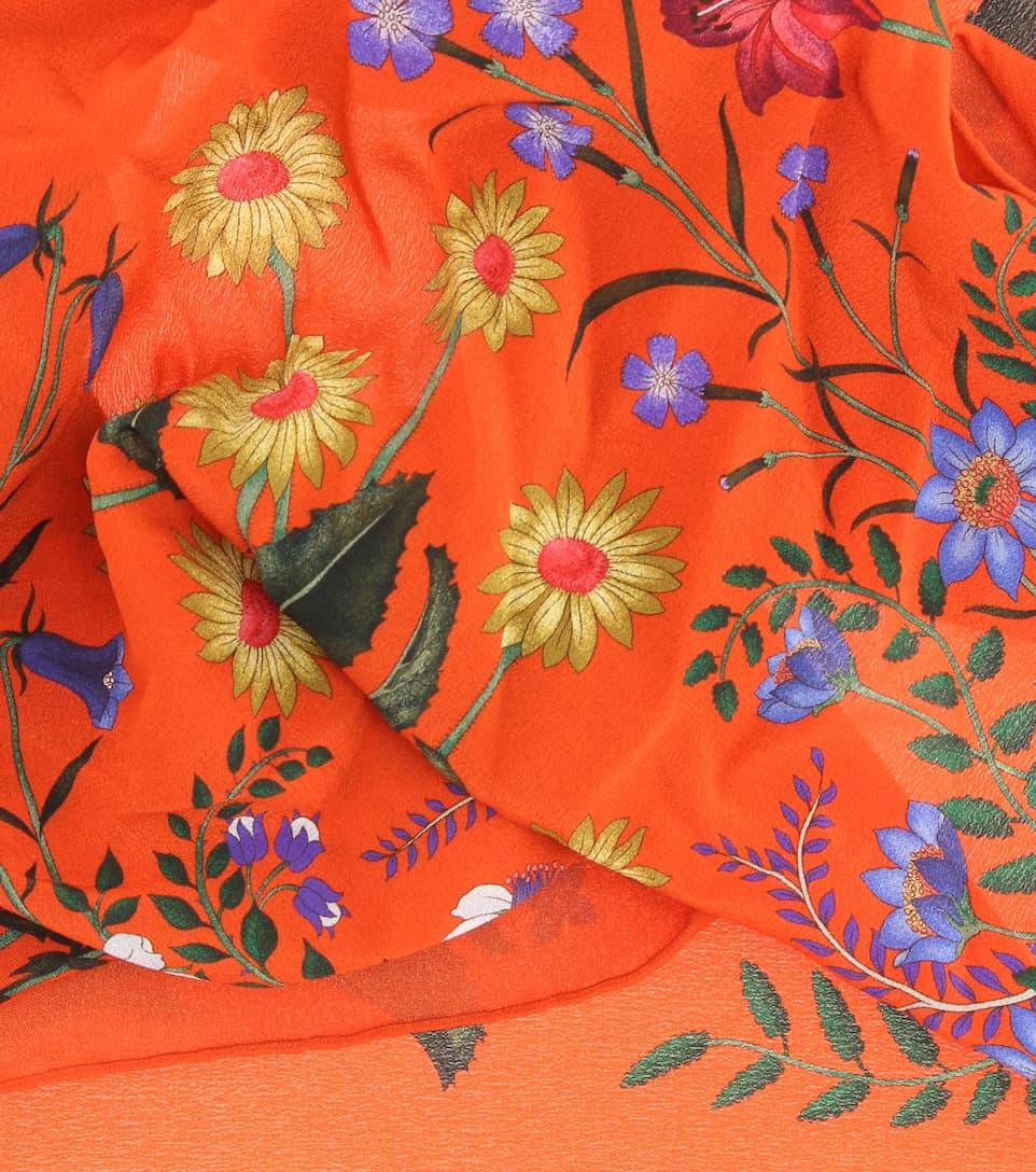 Choisir Une Meilleure Prise Foulard En Soie À Imprimé Floral - Gucci Déstockage De Dédouanement Acheter Pas Cher D'origine TsdZnlbG
