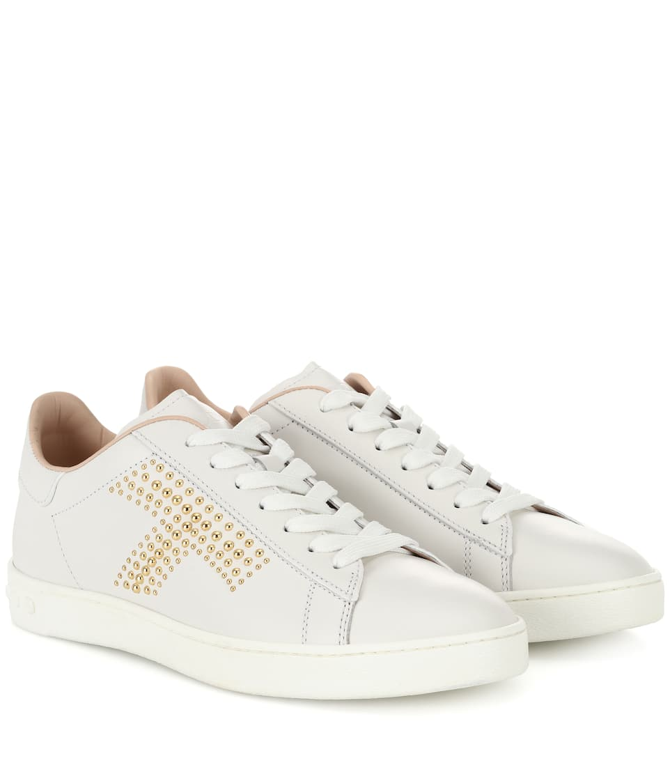 studded-leather-sneakers by tods