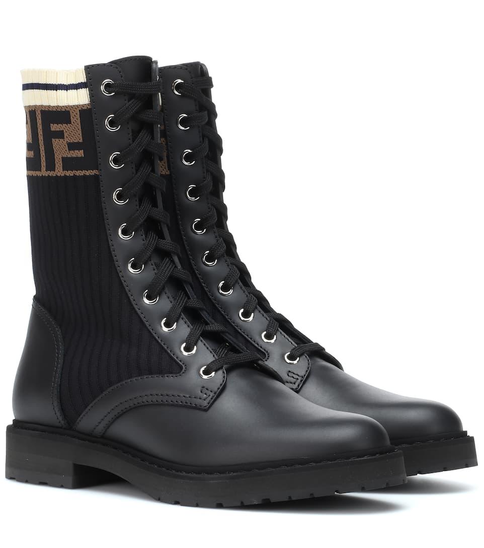 Leather Biker Boots by Fendi