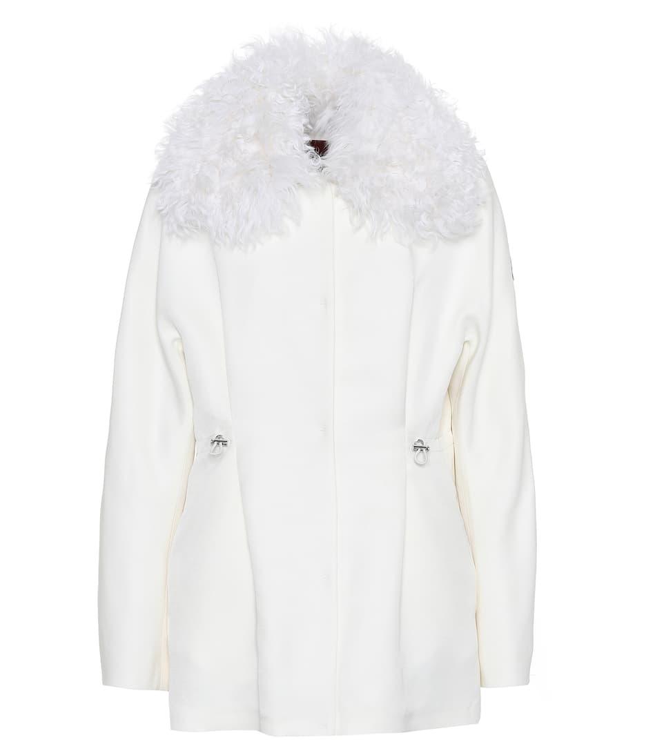 Moncler Gamme Rouge Jacke aus Wolle und Seide mit Pelz