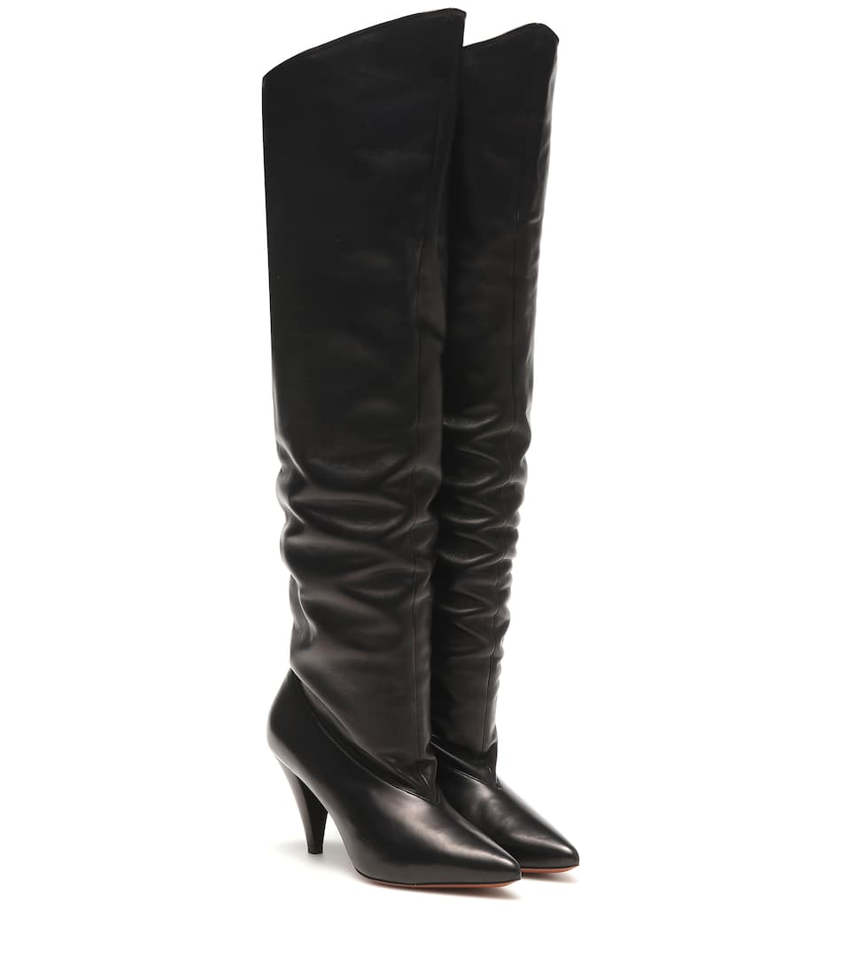 Givenchy Slouchy Knee-high Leather Boots In Black