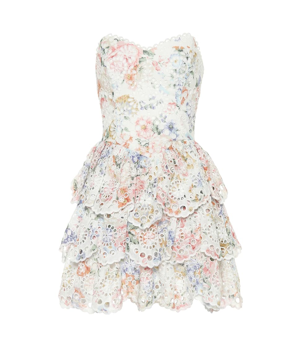 Bowie Floral Linen Minidress by Zimmermann