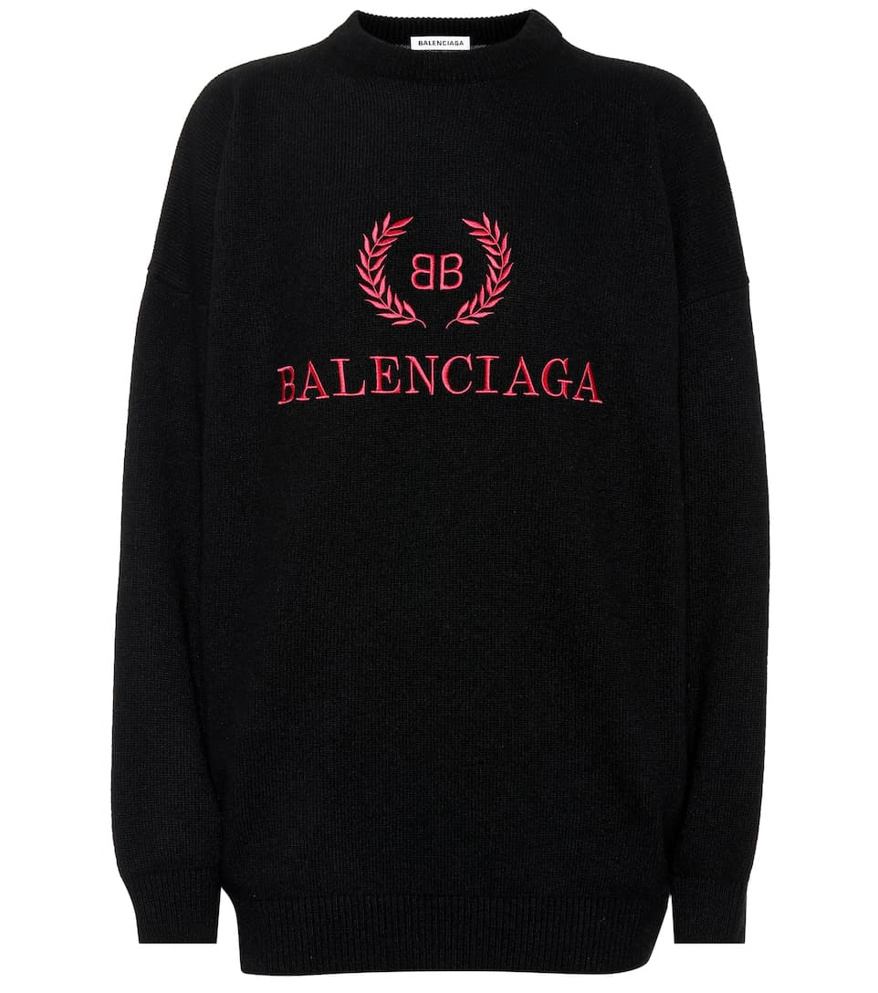 Embroidered Wool Blend Sweater by Balenciaga