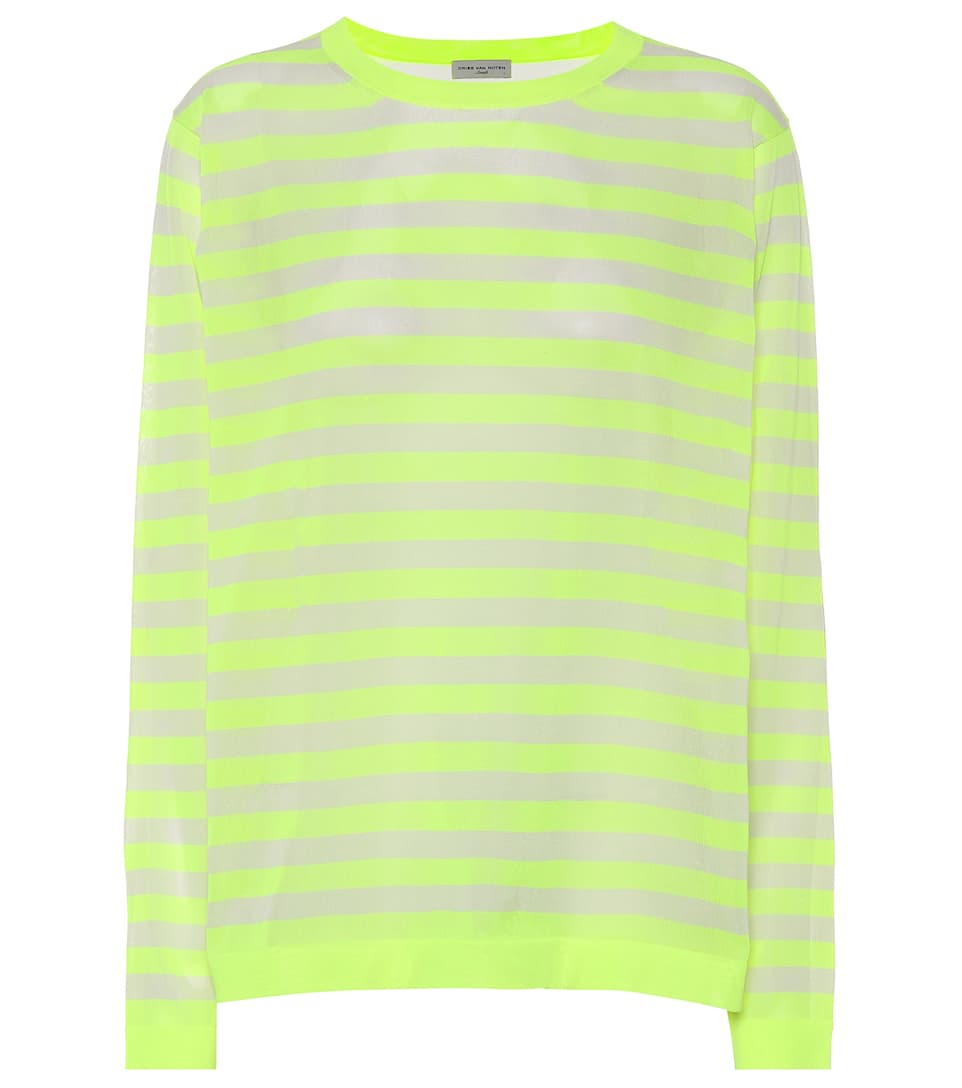 2fa404fda6797 Dries Van Noten - Striped knitted mesh top