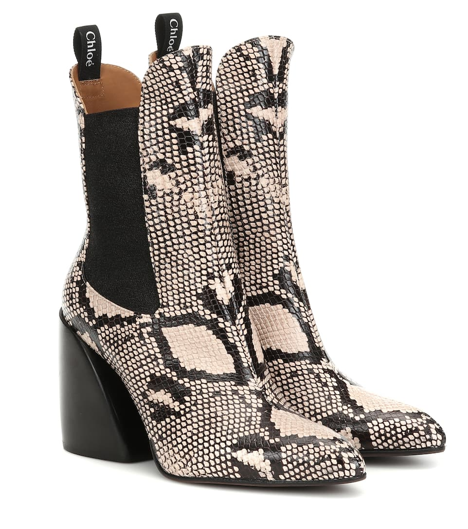 shoes, chelsea boots, snake print, black, leather, boots