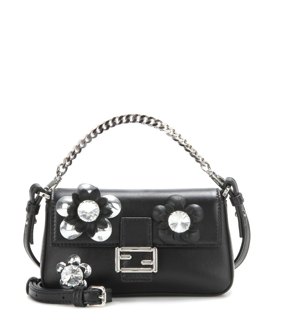 10588e9c15e7 Fendi - Micro Baguette crystal-embellished leather shoulder bag ...