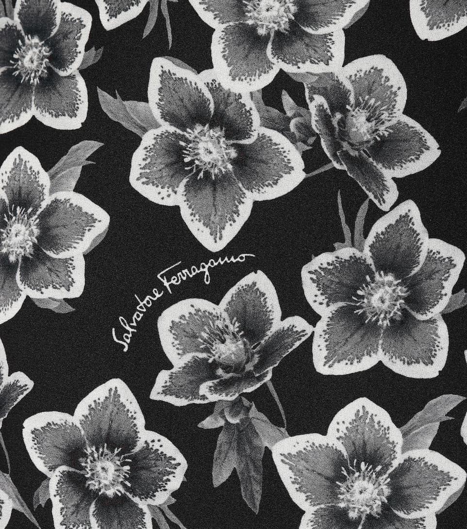 Billige Fälschung Offiziell Salvatore Ferragamo Bedrucktes Top aus Wolle und Seide Billig Verkauf Neue Stile dNk7wcP