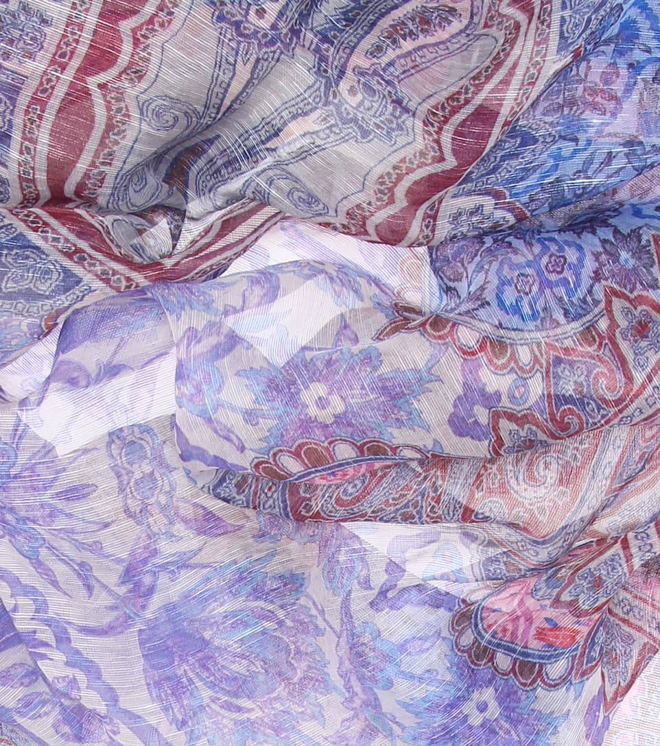 Printed Linen And Silk Scarf Jeu Très Pas Cher O8kXyerm89