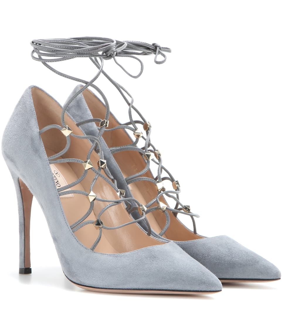 Valentino Rockstud suede lace-up pumps