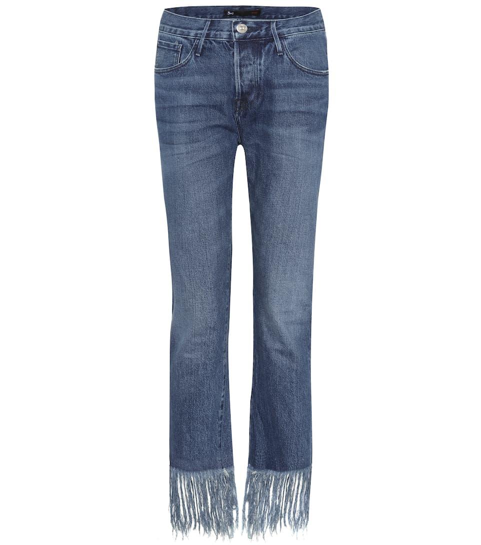 straight crop fringe jeans 3x1 mytheresa. Black Bedroom Furniture Sets. Home Design Ideas