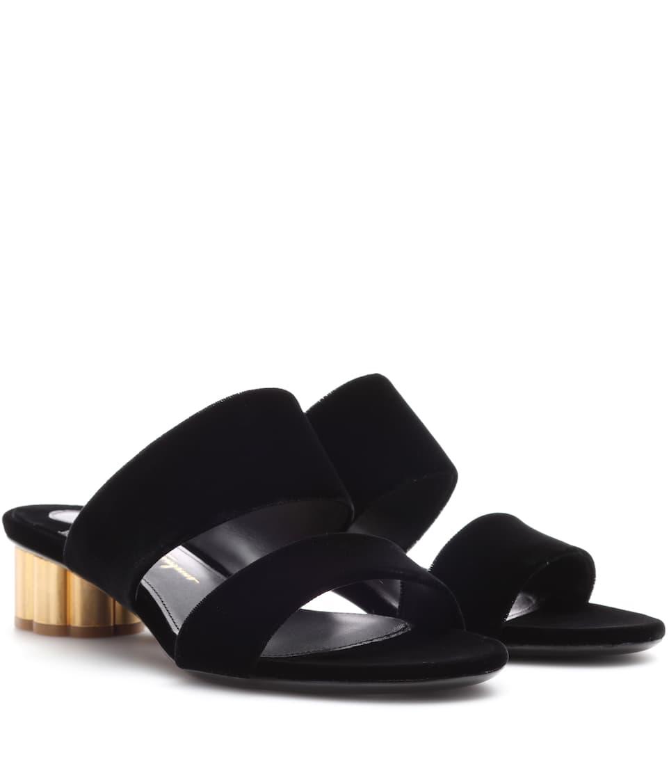 Salvatore Ferragamo Velvet sandals Nero Outlet 2018 HCerzo5