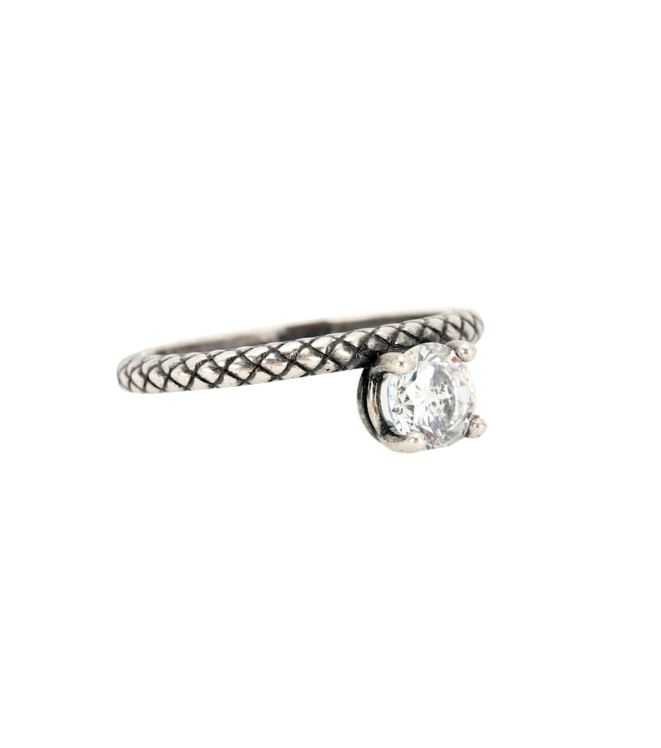 Sterling silver ring with cubic zirconia Bottega Veneta Q7AM1xs