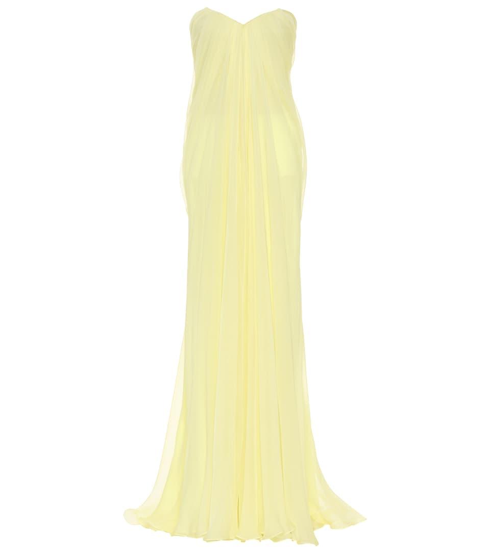 Robe Longue Bustier En Soie - Alexander McQueen