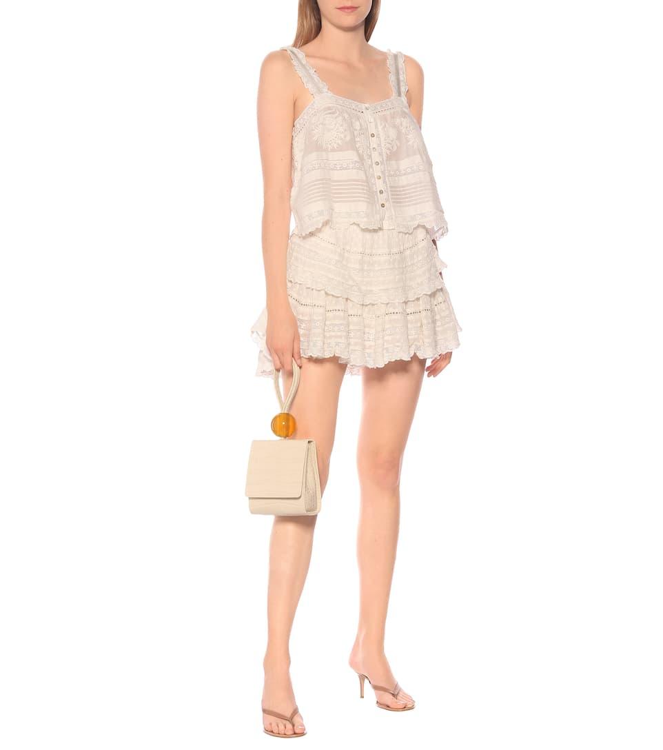 LoveShackFancy - Ruffle cotton-lace miniskirt